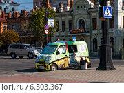 Купить «Автокофейня на улице города», фото № 6503367, снято 5 октября 2014 г. (c) Антон Афанасьев / Фотобанк Лори