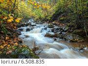 Купить «Осенний пейзаж с рекой в западных украинских Карпатах», фото № 6508835, снято 11 октября 2009 г. (c) Эдуард Кислинский / Фотобанк Лори