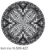 Купить «Декоративный круглый черно-белый орнамент», иллюстрация № 6509427 (c) Олеся Каракоця / Фотобанк Лори