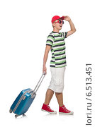 Купить «Funny man with suitcase isolated on white», фото № 6513451, снято 23 августа 2014 г. (c) Elnur / Фотобанк Лори