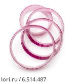Купить «Sliced red onion rings isolated on white background cutout», фото № 6514487, снято 15 сентября 2014 г. (c) Natalja Stotika / Фотобанк Лори