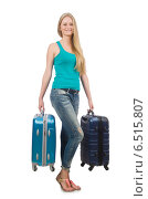 Купить «Travel vacation concept with luggage on white», фото № 6515807, снято 23 июня 2014 г. (c) Elnur / Фотобанк Лори