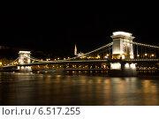 Ночной Будапешт. Цепной мост (2014 год). Стоковое фото, фотограф Сластникова Татьяна / Фотобанк Лори