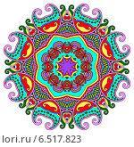 Купить «Круглый декоративный растительный орнамент на белом фоне», иллюстрация № 6517823 (c) Олеся Каракоця / Фотобанк Лори