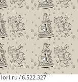 Купить «Текстура с рисунками лисы и зайца», иллюстрация № 6522327 (c) Дмитрий Никитин / Фотобанк Лори