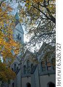 Купить «Кирха королевы Луизы сквозь осенние ветви. Калининград», эксклюзивное фото № 6526727, снято 13 октября 2014 г. (c) Svet / Фотобанк Лори