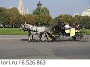 Купить «Наёмный экипаж, катающий туристов по Вене», фото № 6526863, снято 13 октября 2014 г. (c) Иванова Анастасия / Фотобанк Лори