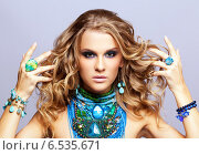 Купить «Woman with bijouterie», фото № 6535671, снято 3 сентября 2014 г. (c) Serg Zastavkin / Фотобанк Лори