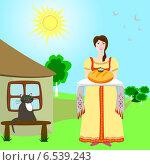 Хозяйка держит хлеб-соль рядом с сельским домом, рисунок. Стоковая иллюстрация, иллюстратор Портнова Екатерина / Фотобанк Лори