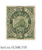 Купить «Почтовая марка Боливии 5 сентаво с изображением герба страны. 1894 год», иллюстрация № 6546119 (c) Евгений Ткачёв / Фотобанк Лори