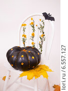 Декорации для Хеллоуина с черной тыквой, белым стулом, желтыми листьями и летучей мышью. Стоковое фото, фотограф Екатерина Ярославовна Мостовая / Фотобанк Лори