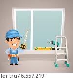 Рабочий монтажник пластиковых окон. Стоковая иллюстрация, иллюстратор Viachaslau Vaitsenok / Фотобанк Лори