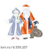 Дед Мороз и Снегурочка. Стоковая иллюстрация, иллюстратор ElenaGumerova / Фотобанк Лори