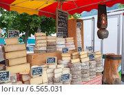 Купить «Французские фермерские сыры на прилавке сельского рынка», фото № 6565031, снято 28 июня 2014 г. (c) Юлия Кузнецова / Фотобанк Лори