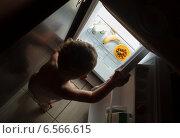 Купить «Маленький мальчик заглядывает ночью в холодильник», фото № 6566615, снято 3 августа 2014 г. (c) Данил Руденко / Фотобанк Лори