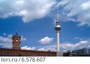 Купить «The television tower and the Red Town Hall, Berlin, Germany», фото № 6578607, снято 15 мая 2008 г. (c) Caro Photoagency / Фотобанк Лори