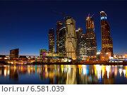 """Купить «""""Москва-Сити"""" ночью», фото № 6581039, снято 4 октября 2014 г. (c) Наталья Волкова / Фотобанк Лори"""