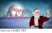 Купить «Santa presenting new year message in snowy landscape», видеоролик № 6581767, снято 21 февраля 2019 г. (c) Wavebreak Media / Фотобанк Лори