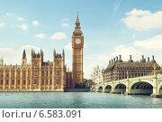 Купить «Биг Бен в солнечный день, Лондон», фото № 6583091, снято 8 сентября 2014 г. (c) Iakov Kalinin / Фотобанк Лори