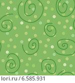 Купить «Бесшовный зеленый фон с завитками и кругами», иллюстрация № 6585931 (c) Типляшина Евгения / Фотобанк Лори