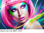 woman with multi lines and pink wig. Стоковое фото, фотограф Александр Буц / Фотобанк Лори