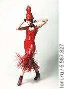 fashion woman in swirl red hat and dress. Стоковое фото, фотограф Александр Буц / Фотобанк Лори