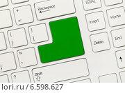 Купить «Белая концептуальная клавиатура - Пустая клавиша зеленого цвета», фото № 6598627, снято 28 августа 2013 г. (c) Самохвалов Артем / Фотобанк Лори