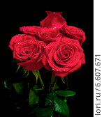 Купить «Букет красных роз на черном фоне», фото № 6607671, снято 30 ноября 2012 г. (c) Ласточкин Евгений / Фотобанк Лори