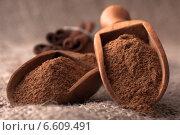 ground cinnamon spice powder in wooden spoon. Стоковое фото, фотограф Natalja Stotika / Фотобанк Лори