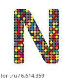 Купить «Разноцветная буква N в стиле диско на белом фоне», иллюстрация № 6614359 (c) Евгений Ткачёв / Фотобанк Лори