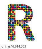 Купить «Разноцветная буква R в стиле диско на белом фоне», иллюстрация № 6614363 (c) Евгений Ткачёв / Фотобанк Лори