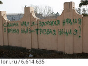 Купить «Надпись на заборе», фото № 6614635, снято 6 апреля 2014 г. (c) Александр Игнатов / Фотобанк Лори