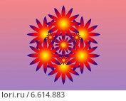Узор с фиолетовой окантовкой в оранжево-желтых тонах на сиреневом фоне. Стоковая иллюстрация, иллюстратор Анна Яковлева / Фотобанк Лори