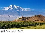 Купить «Армения, Араратская долина, монастырь Хор Вирап», фото № 6615559, снято 11 октября 2014 г. (c) Владимир Приземлин / Фотобанк Лори