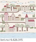 Маленький городок. Стоковая иллюстрация, иллюстратор Дарья Столярова / Фотобанк Лори
