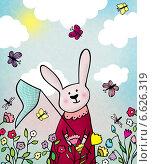 Кролик ловит бабочек на лужайке. Открытка. Стоковая иллюстрация, иллюстратор Дарья Столярова / Фотобанк Лори