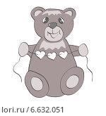 Мишка с гирляндой из сердечек. Стоковая иллюстрация, иллюстратор ElenaGumerova / Фотобанк Лори