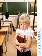 Купить «Портрет школьницы в полупустом классе», фото № 6633435, снято 20 октября 2014 г. (c) Владимир Мельников / Фотобанк Лори