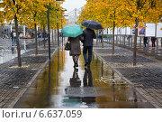 Купить «Мужчина и женщина гуляют по Крымской набережной во время осеннего дождя в городе Москве, Россия», фото № 6637059, снято 12 октября 2014 г. (c) Николай Винокуров / Фотобанк Лори
