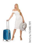 Купить «Woman preparing for summer vacation isolated on white», фото № 6640191, снято 6 сентября 2014 г. (c) Elnur / Фотобанк Лори