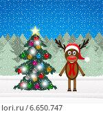 Купить «Олень и новогодняя елка», иллюстрация № 6650747 (c) Мастепанов Павел / Фотобанк Лори