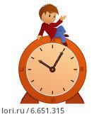 Купить «Мальчик сидит на часах на белом фоне», иллюстрация № 6651315 (c) Алексей Зайцев / Фотобанк Лори