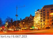 Купить «Night view of Passeig de Gracia in Barcelona», фото № 6667203, снято 27 марта 2019 г. (c) Яков Филимонов / Фотобанк Лори