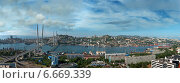 Купить «Владивосток, Приморский край, новый мост через бухту Золотой Рог», фото № 6669339, снято 22 января 2019 г. (c) Георгий Хрущев / Фотобанк Лори