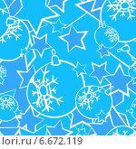 Купить «Бесшовный фон с ёлочными шарами и звездами», эксклюзивная иллюстрация № 6672119 (c) Александр Павлов / Фотобанк Лори