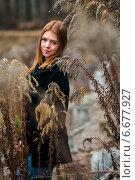 Купить «Портрет красивой девушки с рыжими волосами среди сухой высокой травы», эксклюзивное фото № 6677927, снято 31 октября 2014 г. (c) Игорь Низов / Фотобанк Лори