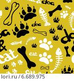 Бесшовный фон с собачьими следами и костью. Стоковая иллюстрация, иллюстратор Tatiana Makhakhei / Фотобанк Лори