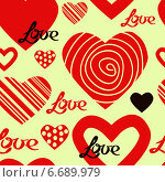 Бесшовный фон с сердечками ко Дню святого Валентина. Стоковая иллюстрация, иллюстратор Tatiana Makhakhei / Фотобанк Лори