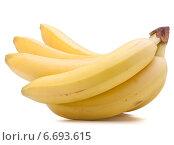 Купить «Bananas bunch isolated on white background cutout», фото № 6693615, снято 22 марта 2013 г. (c) Natalja Stotika / Фотобанк Лори