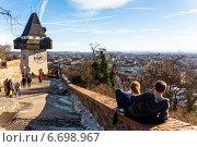 Купить «austria, styria, graz, clock tower», фото № 6698967, снято 20 августа 2018 г. (c) Erwin Wodicka / Фотобанк Лори